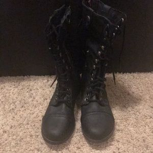 SM New York Shoes - Black and Pink Fold Over Combat Boots